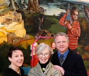 Anne Hodge (Curator of Prints and Drawings, NGI), Catherine Marshall (scholar and curator)and Colin Davidson PRUA (artist) – the judging panel for the Hennessy Portrait Prize 2015. (photo Kieran Harnett)
