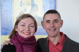 Ania Ludwinek with Michael Watts (exhibition curator) at the exhibition opening.