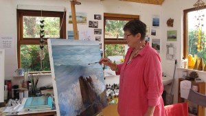 Artist Jo Ashby in her studio