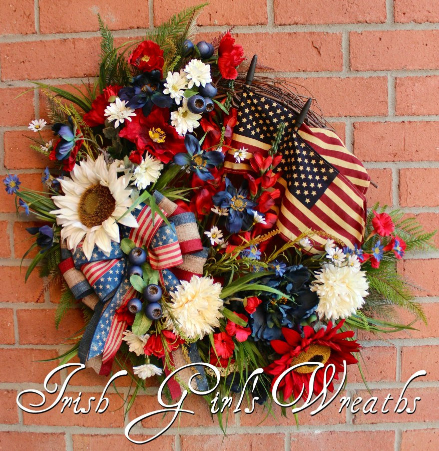 Large Patriotic Americana Poppy and Sunflower Summer Wreath