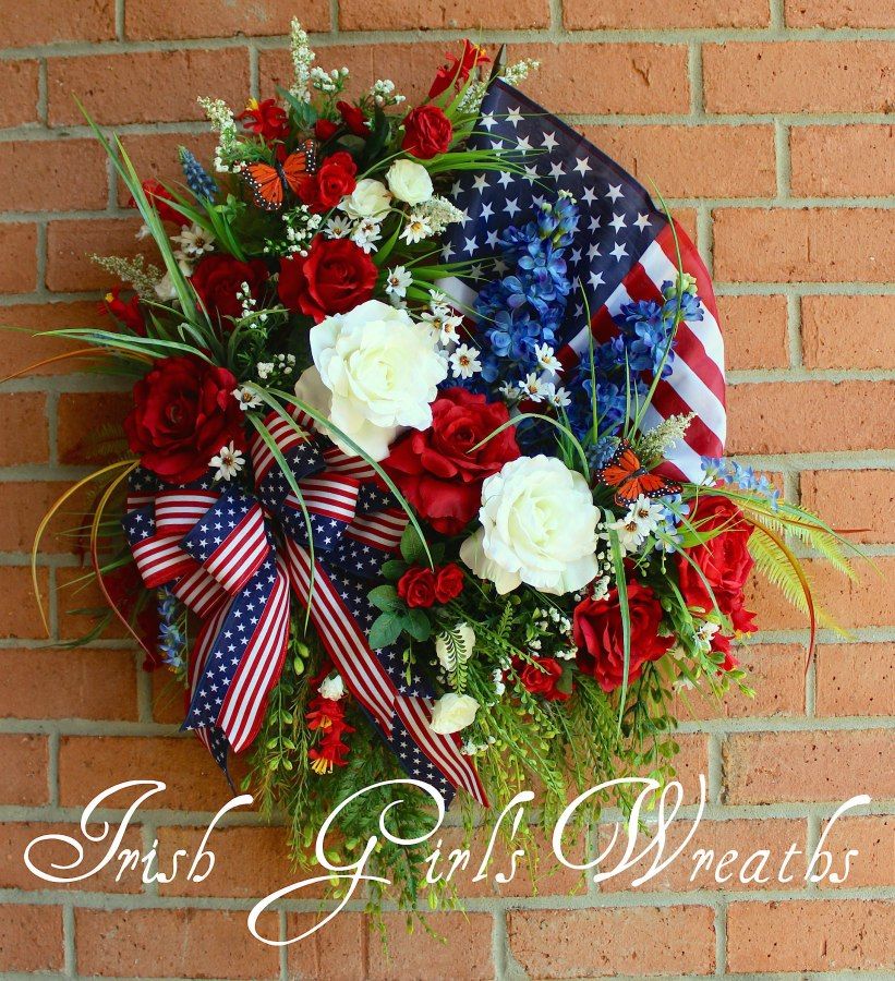 Patriotic Rose Garden Wreath