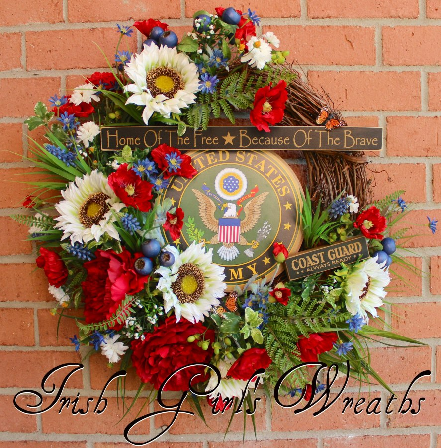 Honored Veteran Patriotic Wreath, Custom Order for Casandra