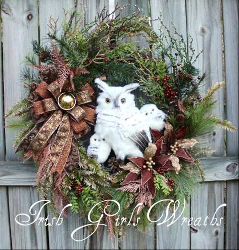 X-Large Copper and Gold Winter Owl Family Wreath