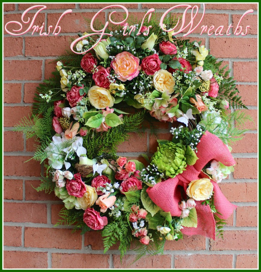 Large Coral and Yellow Ranunculus Garden Spring Wreath, Mother's Day, Easter, Victorian Summer