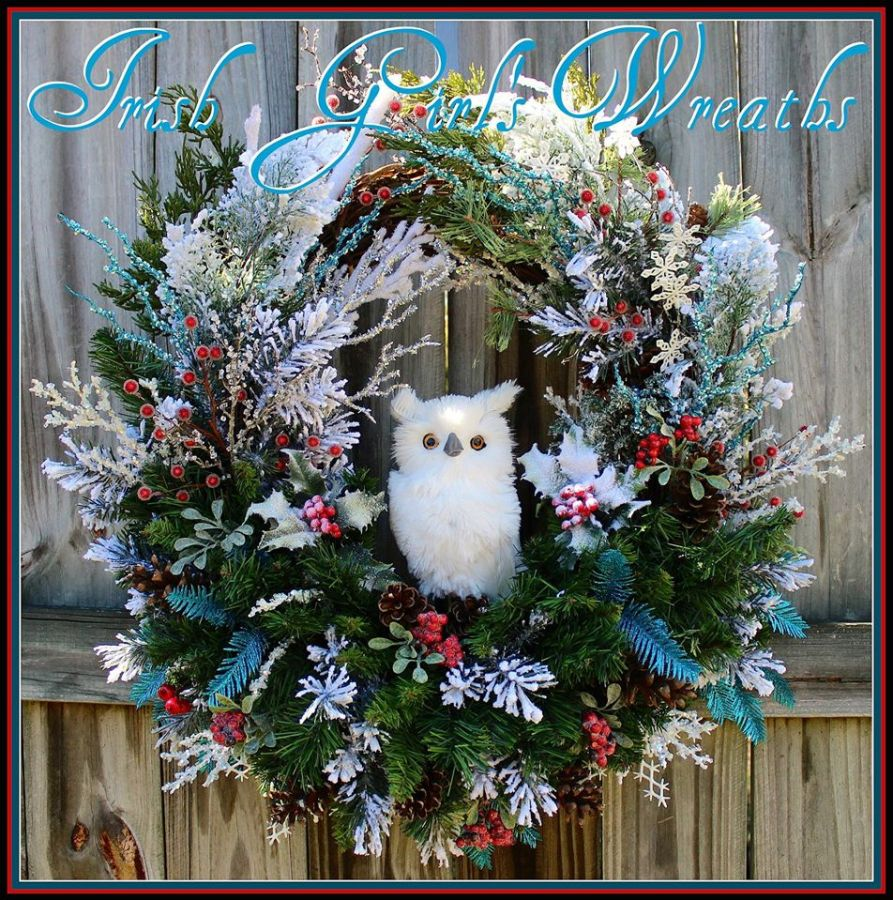 Custom Single Owl Turquoise and Red Winter Owl Wreath