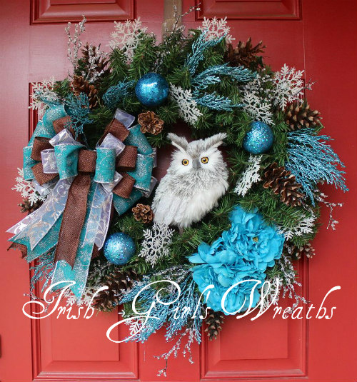 Custom Turquoise Winter Owl Wreath