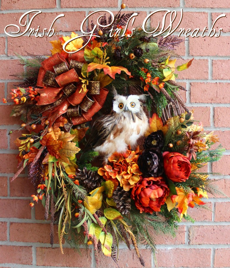 Deluxe Rustic Autumn Owl Wreath