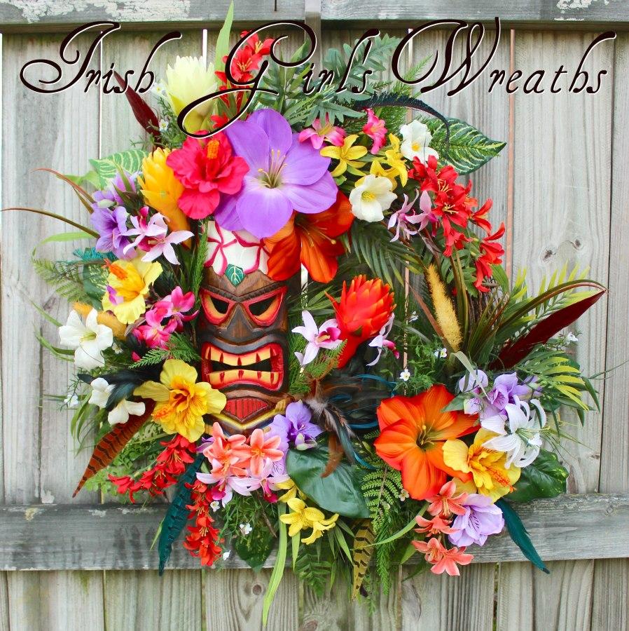 Hawaiian Tropical Summer Tiki Island Luau Wreath