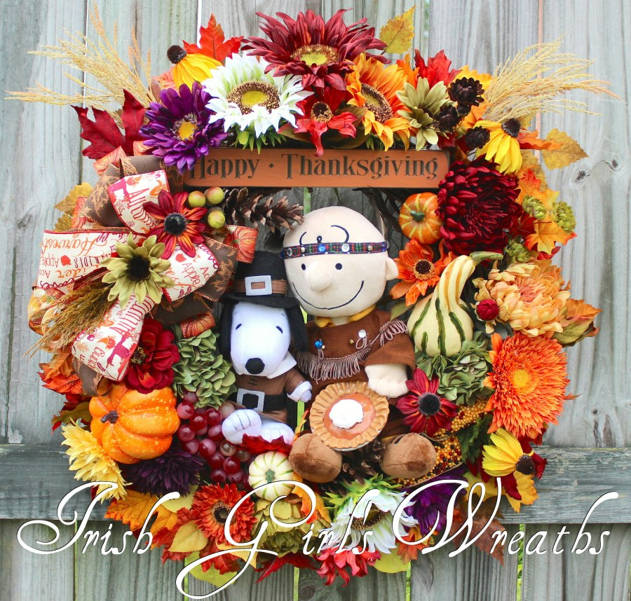 Indian Charlie Brown and Pilgrim Snoopy Thanksgiving Wreath