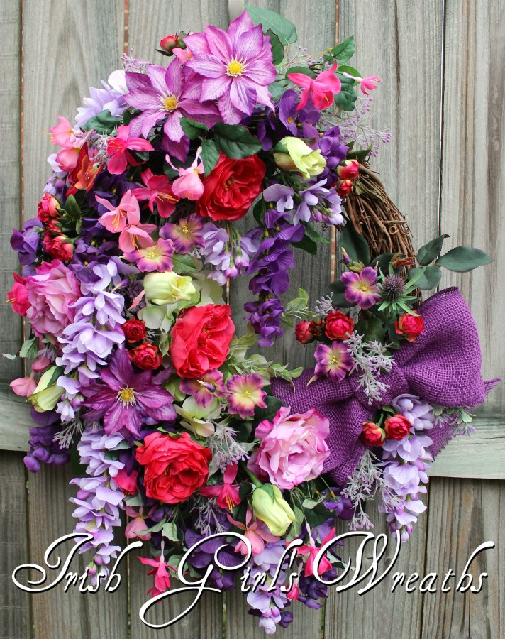 Purple & Orchid Wisteria French Country Garden Wreath
