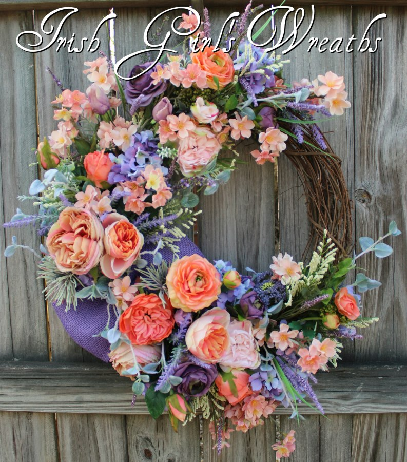 Peach & Lavender English Cottage Garden Wreath, French Country Wreath