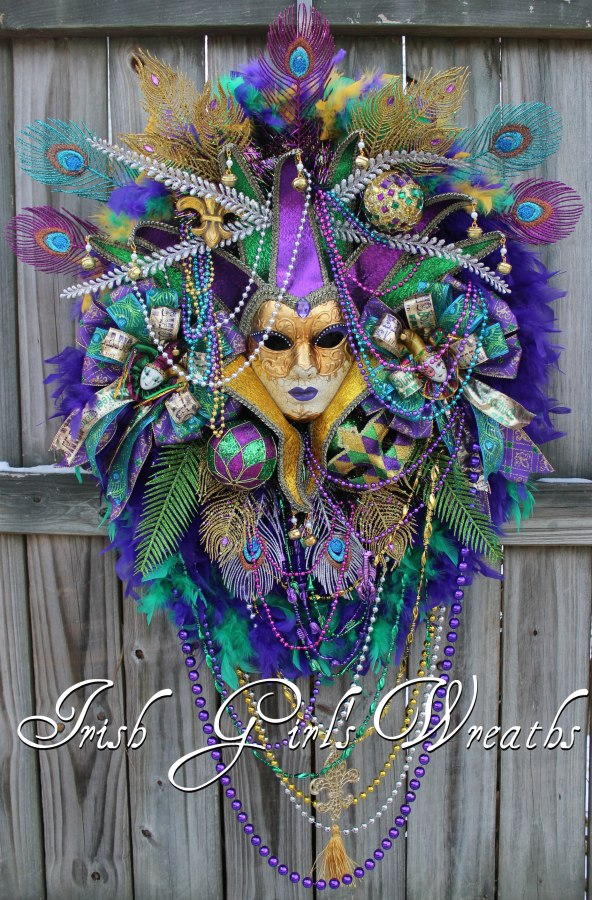 XXL Purple Teal Mardi Gras Wreath, masquerade Wreath, Carnival Wreath, Jester mask