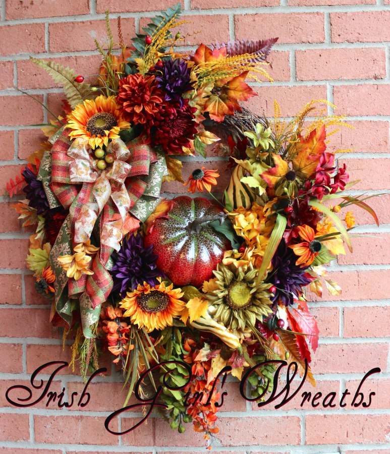 XL Deluxe Red Pumpkin Fall Extravaganza Wreath