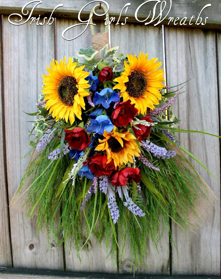 Tuscan - French Country Sunflower & Poppy Floral Swag