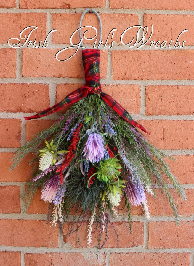 Thistle and Heather Scottish Floral Wall Hanging