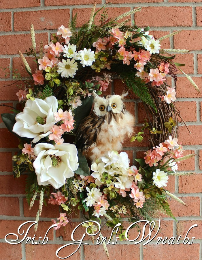 Large Rustic Spring Blossom Owl Wreath