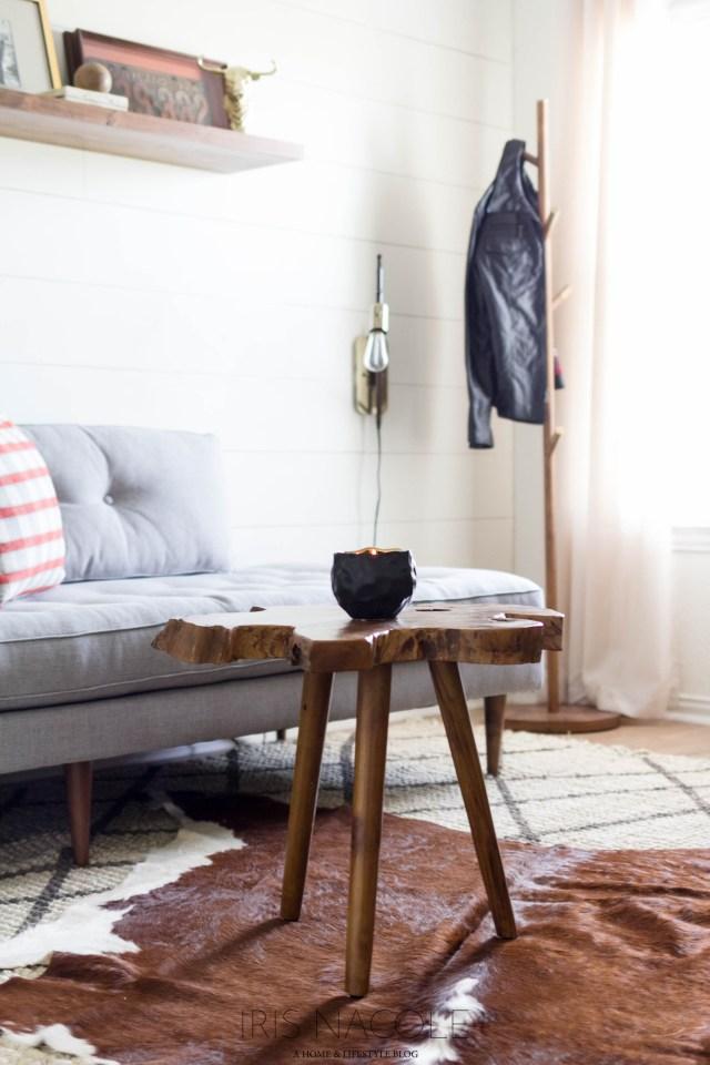 Men's Lounge, Rustic Mid-Century Modern Decor, Iris Nacole.com One Room Challenge