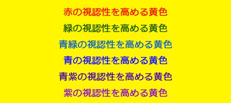 オブジェクトが「赤、緑、青緑、青、青紫、紫」の場合、黄色背景だと視認性が最も高くなります