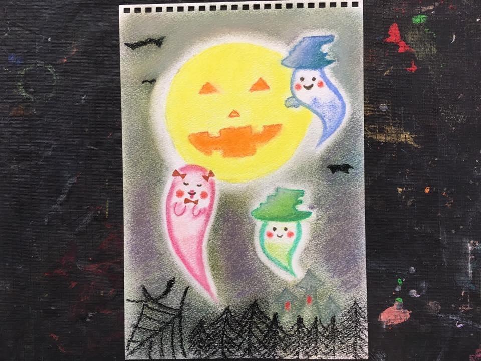 秋 ハロウィン かぼちゃ 絵 パステル画 パステルアート デッサン イラスト ドローイング 色のね いろのね ironone 沖明日香 絵画教室 絵画造形教室 こども工作 おえかき 関西 大阪 枚方 八幡