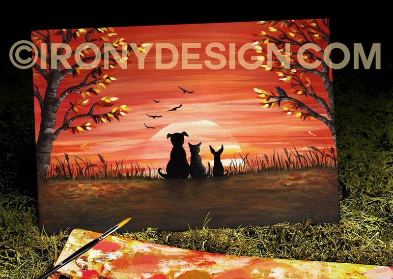 Autumn Sunset Painting