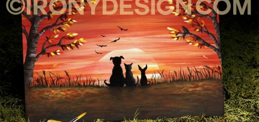 Autumn Sunset Painting Art Products and Gifts