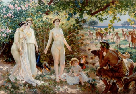 Aphrodite (Venus) bares herself before Paris, with Hera and Athena standing to her left in The Judgment of Paris by Enrique Simonet, c. 1904.