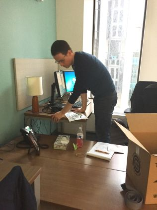 Greg Swann explores his new desk.