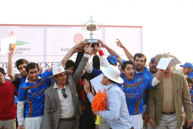 Winning team pose with the trophy at a two-day sporting event in Islamabad.