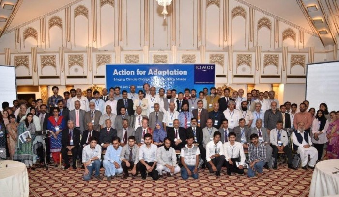 Group photo of participants at Action for Adaptation Climate Conference in Islamabad jointly organized by ICIMOD