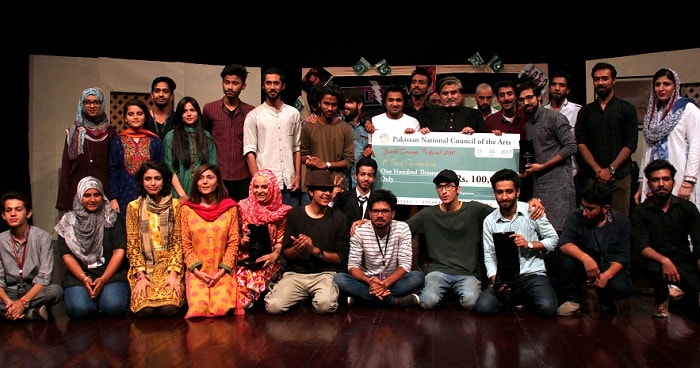 COMSATS University team who won the first prize at PNCA Youth Drama Festival 2017