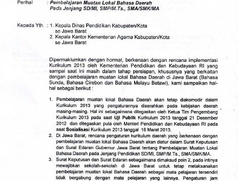 Surat Edaran Dinas Pendidikan Jawa Barat Berkaitan dengan Status Mata Pelajaran Bahasa Sunda dalam Kurikulum 2013. Sumber: http://fkmgmpbdjabar.blogspot.com