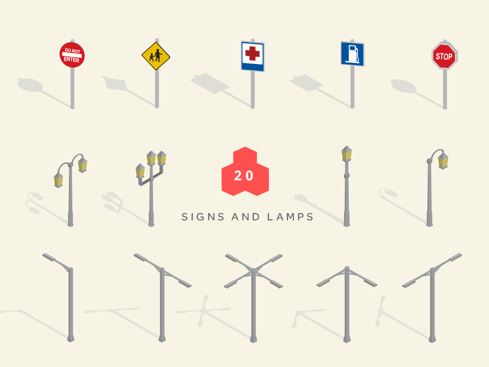 isometric maps signs and street lamps