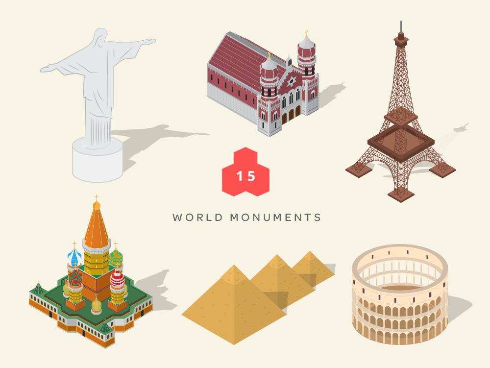 isometric maps world monuments