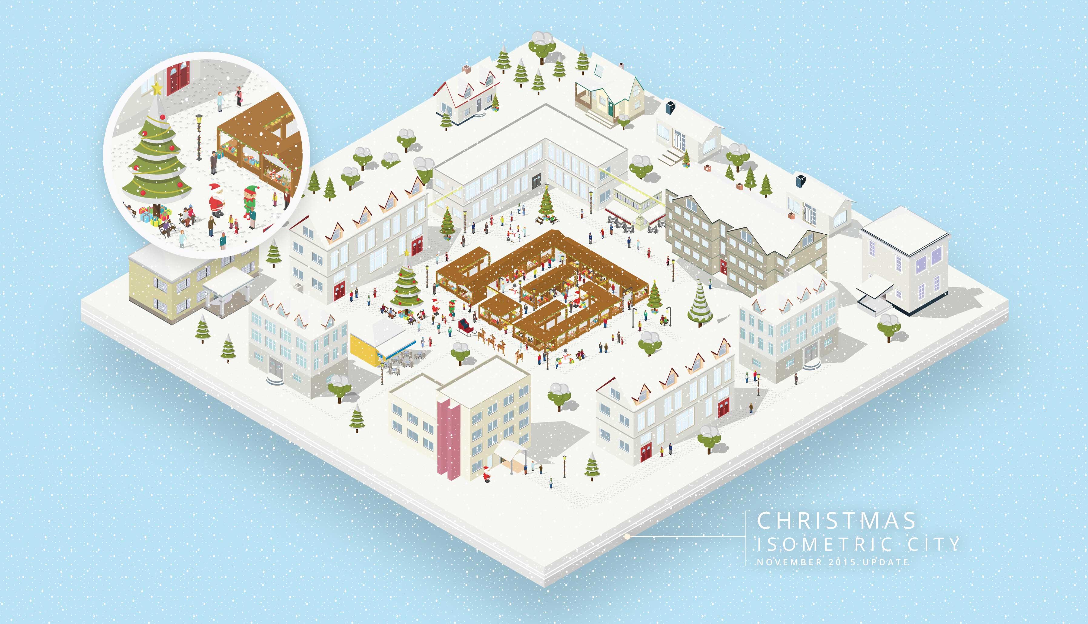 Isometric Christmas city