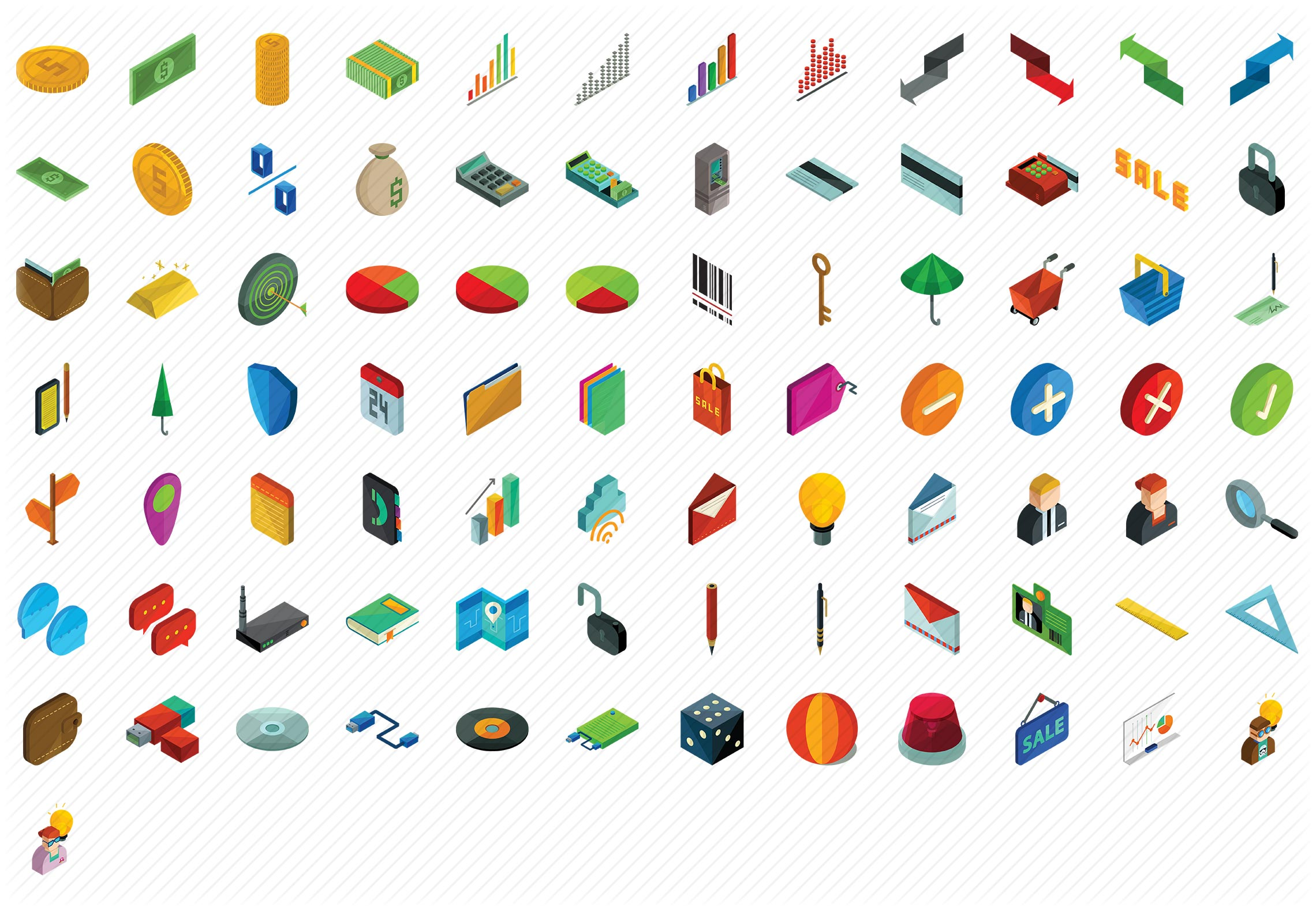 Business and Finance Isometric Icons