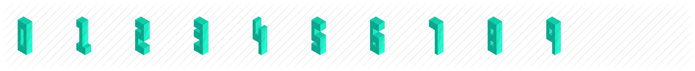 Numbers Isometric Icons