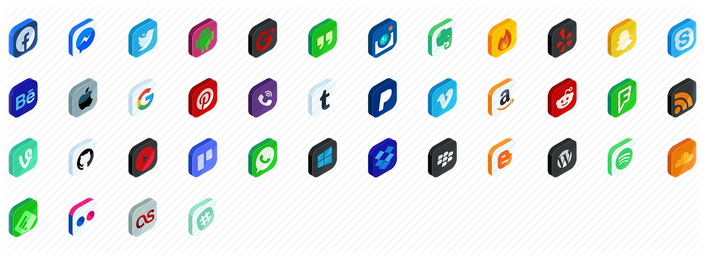 Social Media Isometric Icons
