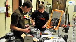 Engineering students work on their Baja car project.