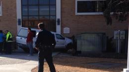 Vehicle strikes campus building, leaves one injured