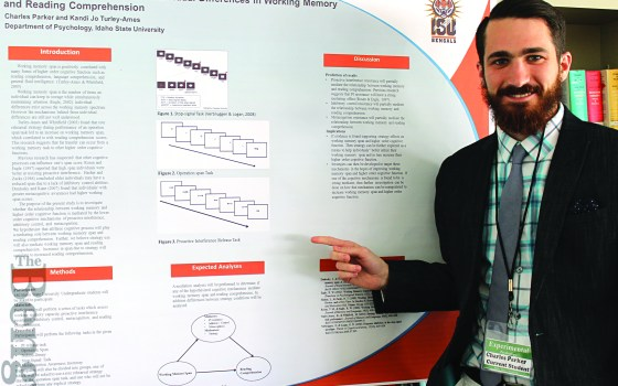Graduate psychology student Charles Parker presented his research poster during Graduate Research Days.