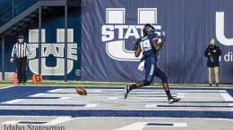 Utah State football player on the field