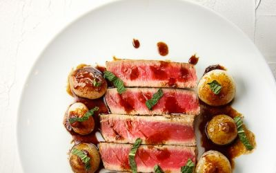 Seared Tuna with Sweet and Sour Cipollini Onions