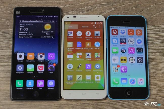 Сравнение размеров: Xiaomi Mi4C, Bravis Solo, iPhone 5c
