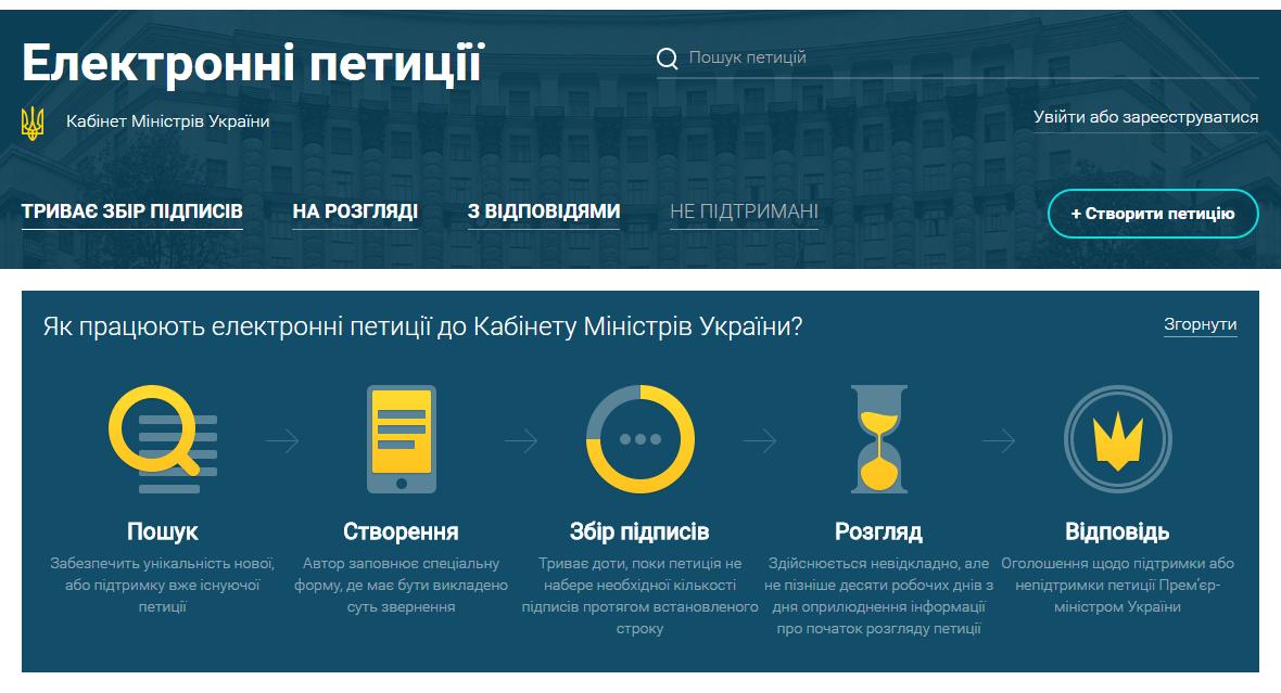 Кабмин запустил насвоем сайте сервис электронных петиций