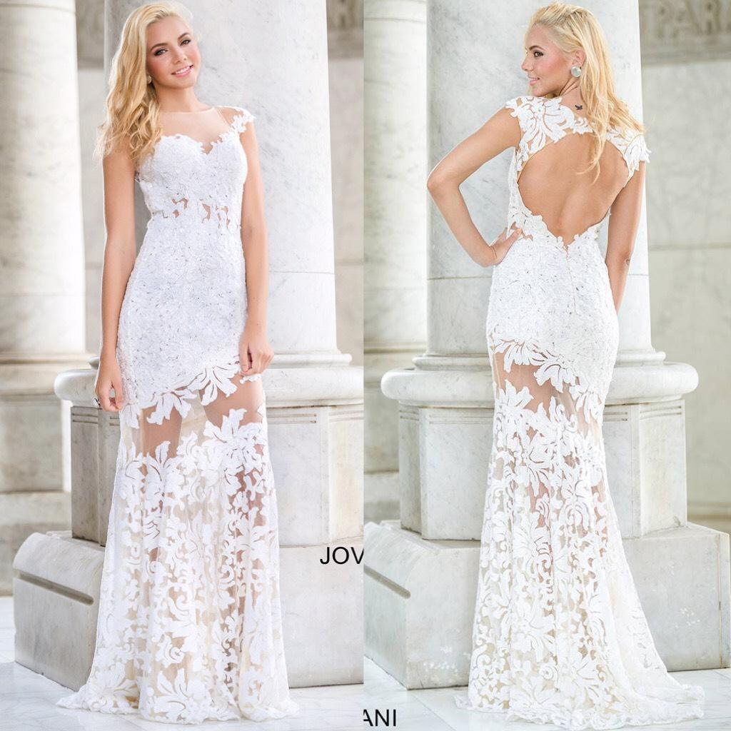 jovani wedding dress jovani wedding dress Jovani Cap Sleeve Lace Embellished Floral Dress With Sheer Illusion Neckline And Open Back Wedding
