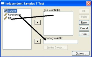 Dialog box for independent sample t test