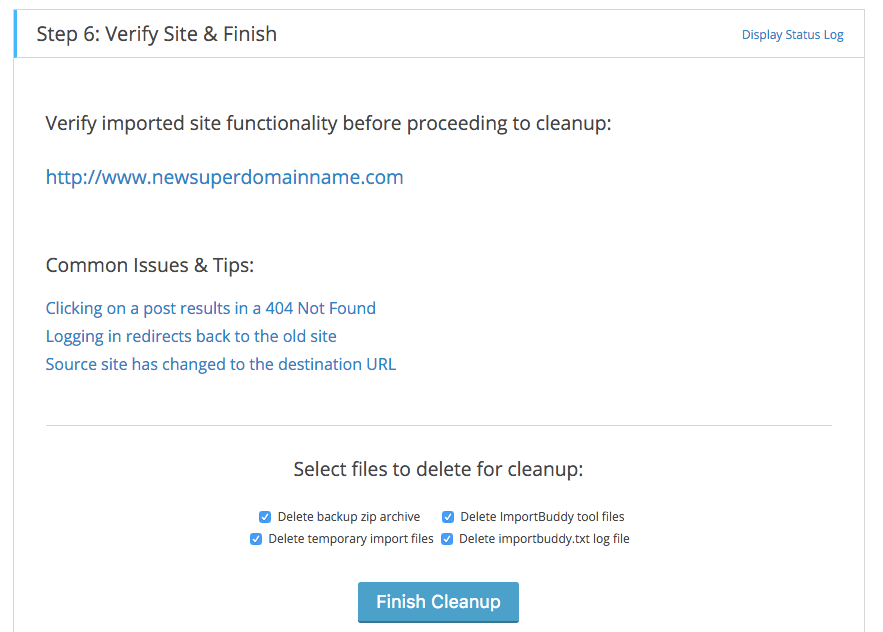 Migrate WordPress finalstep