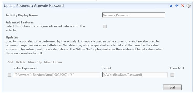 Update Resources Activity - Generate Password