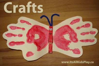 Crafts for Kids - picture of a handprint butterfly magnet