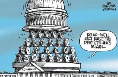 Raising the Debt Ceiling on a House of Cards Cartoon